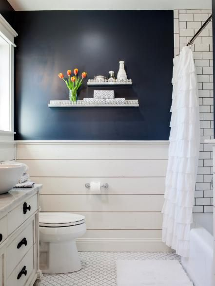 Navy Bathroom Decorating Ideas; HGTV's Fixer Upper. Navy walls and white shiplap, vessel sink, ruffled shower curtain