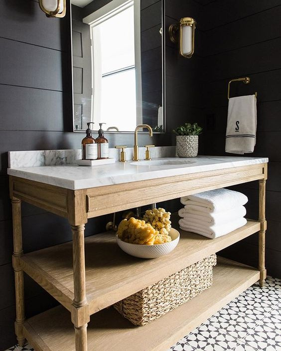Navy Bathroom Decorating Ideas: Dark shiplap walls, marble topped open wood vanity by Studio McGee