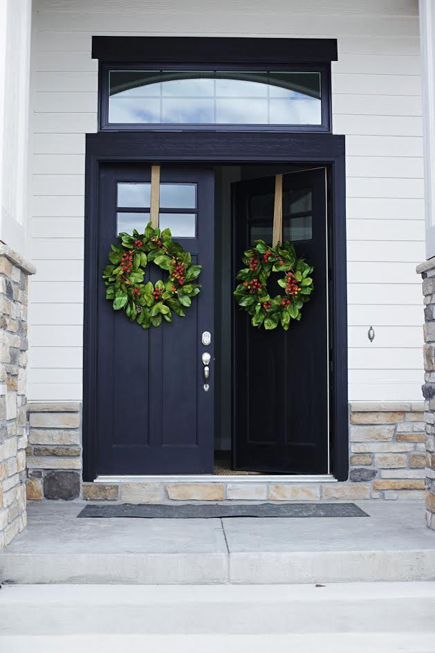 Modern Farmhouse Home Tour with Household No 6 - Double black front entry doors.