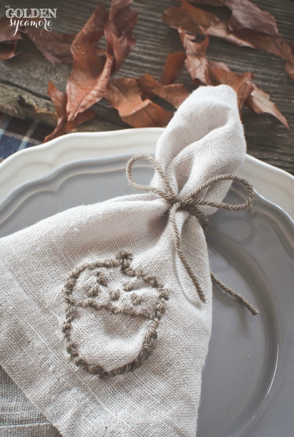 The Golden Sycamore, Embroidered Fall Napkins, 20 Ways to Make Thanksgiving Extra Special