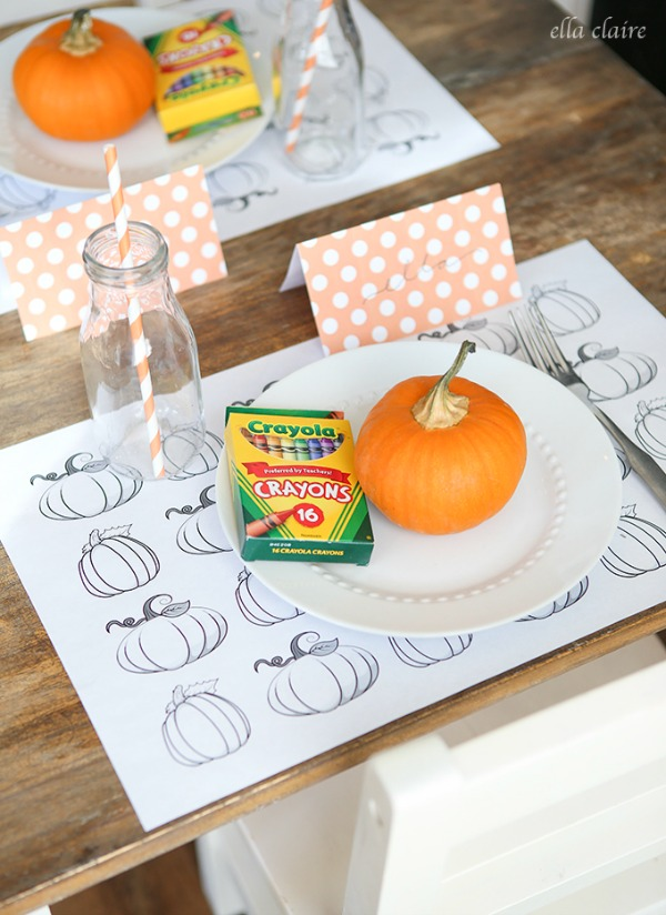 Ella Claire, Kids Coloring Placemats and Table Set Up, 20 Ways to Make Thanksgiving Extra Special