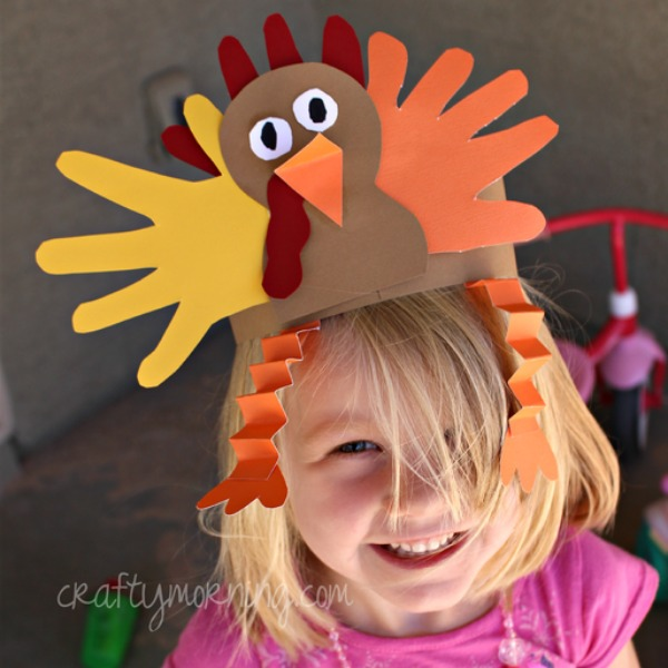 Crafty Morning, Handprint Turkey Hat, 20 Ways to Make Thanksgiving Extra Special