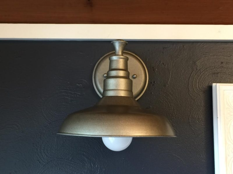 Navy Bathroom Budget Breakdown and Shopping Sources - Galvanized steel indoor wall sconce light fixture (source included)