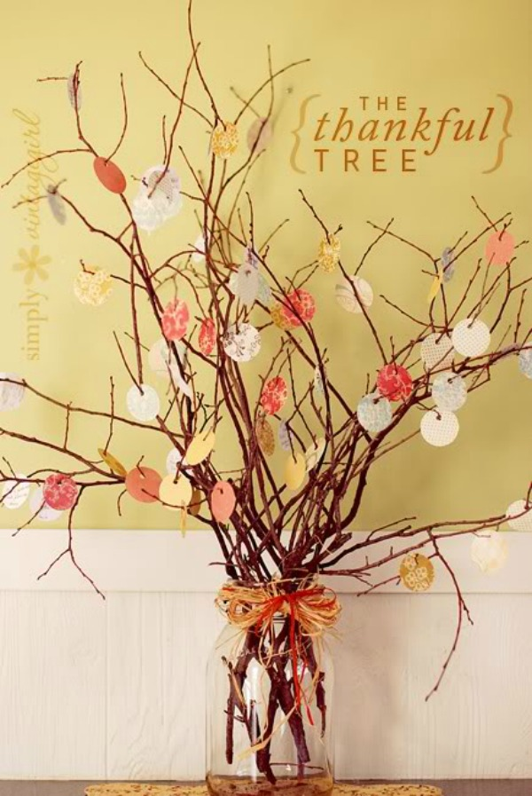 Perfectly Imperfect, Thankful Leaves Tree, 20 Ways to Make Thanksgiving Extra Special via Fox Hollow Cottage