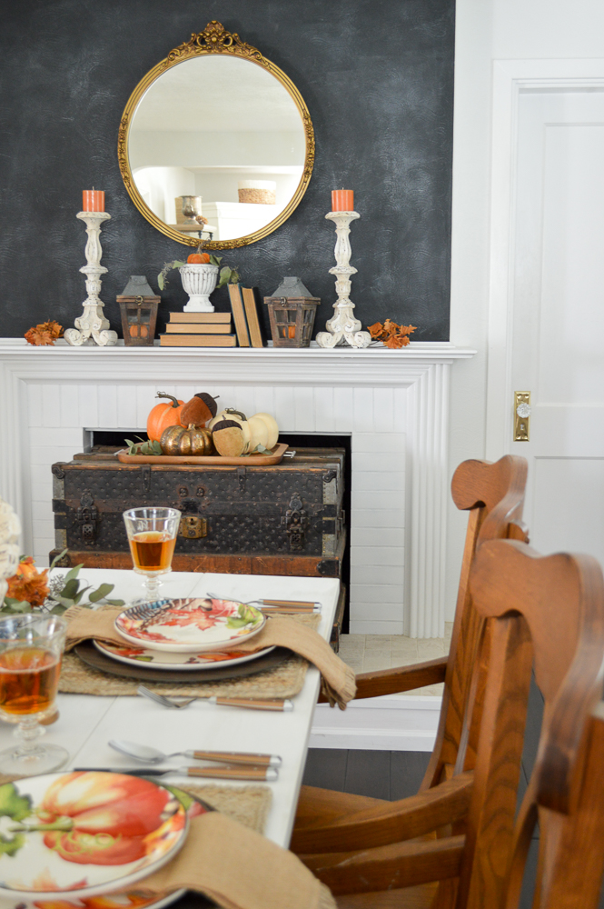 Beginner Friendly Thanksgiving Tablescape. Chalkboard fireplace mantel with vintage gold mirror