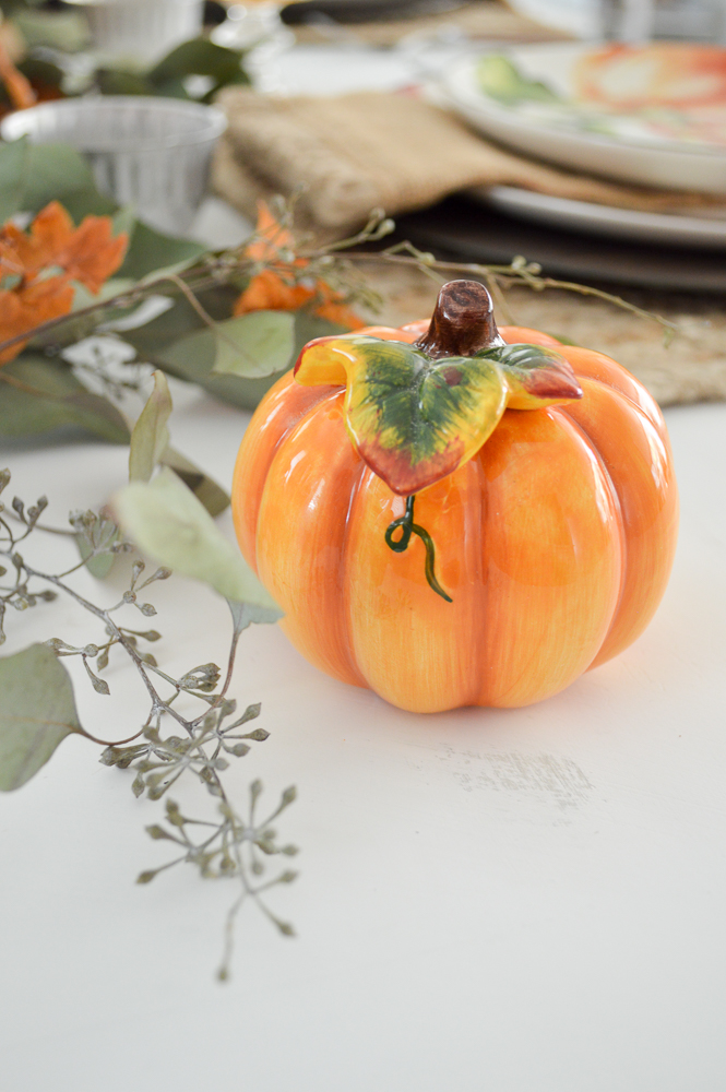 Budget and Beginner Friendly Thanksgiving Tablescape | Orange pumpkin salt & pepper shakers