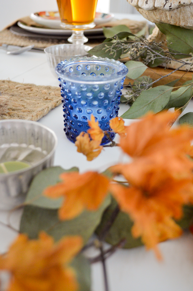 Budget and Beginner Friendly Thanksgiving Table | Blue hobnail glass votive candle holder