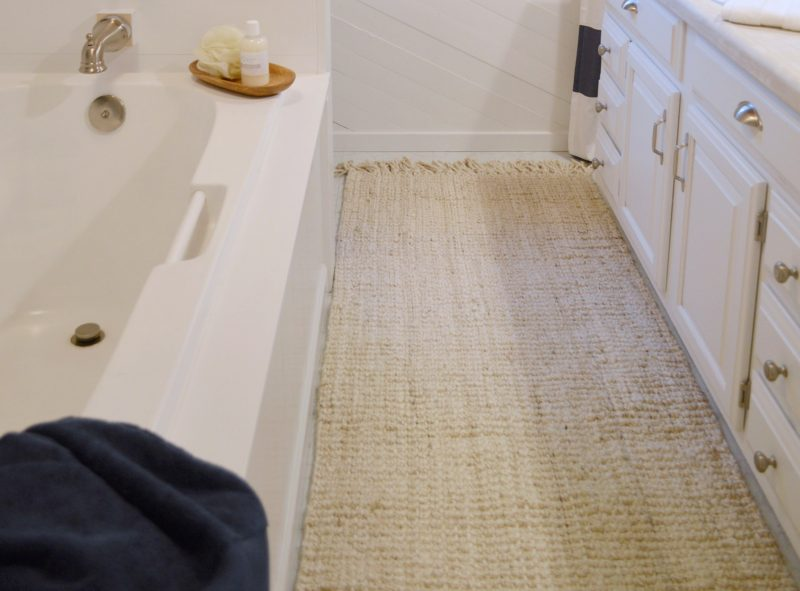 Navy Bathroom Budget Breakdown and Shopping Sources | maui-chunky-loop-natural-jute-rug-in-bleached