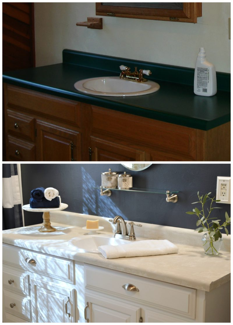 Navy Bathroom Budget Breakdown and Shopping Sources - before and after low cost paint makeover for oak wood vanity and laminate countertop