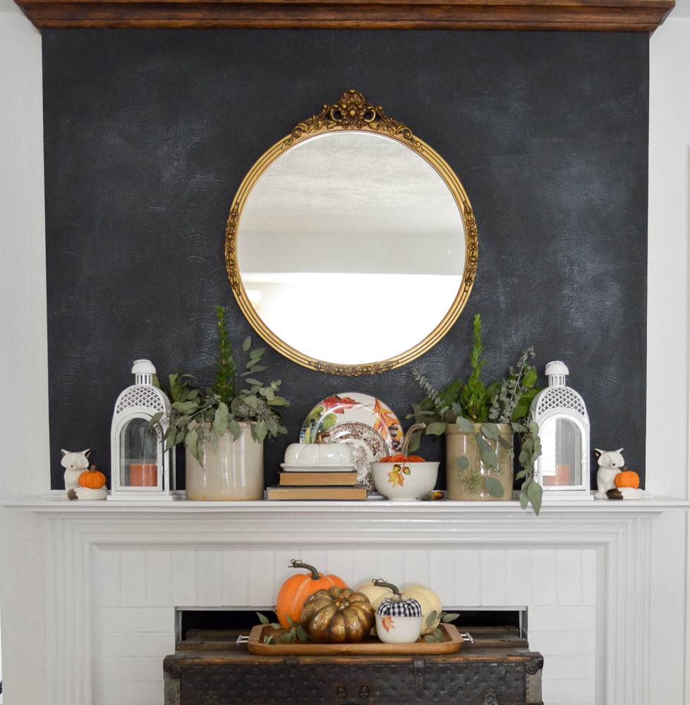 Easy Autumn Home Decorating: Simple Fall Table - Fall at Fox Hollow Cottage, vintage mirror over the fireplace.