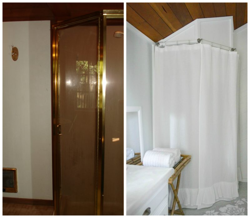 Navy Bathroom Budget Breakdown and Shopping Sources - gold corner shower before and after ugly bathroom fix