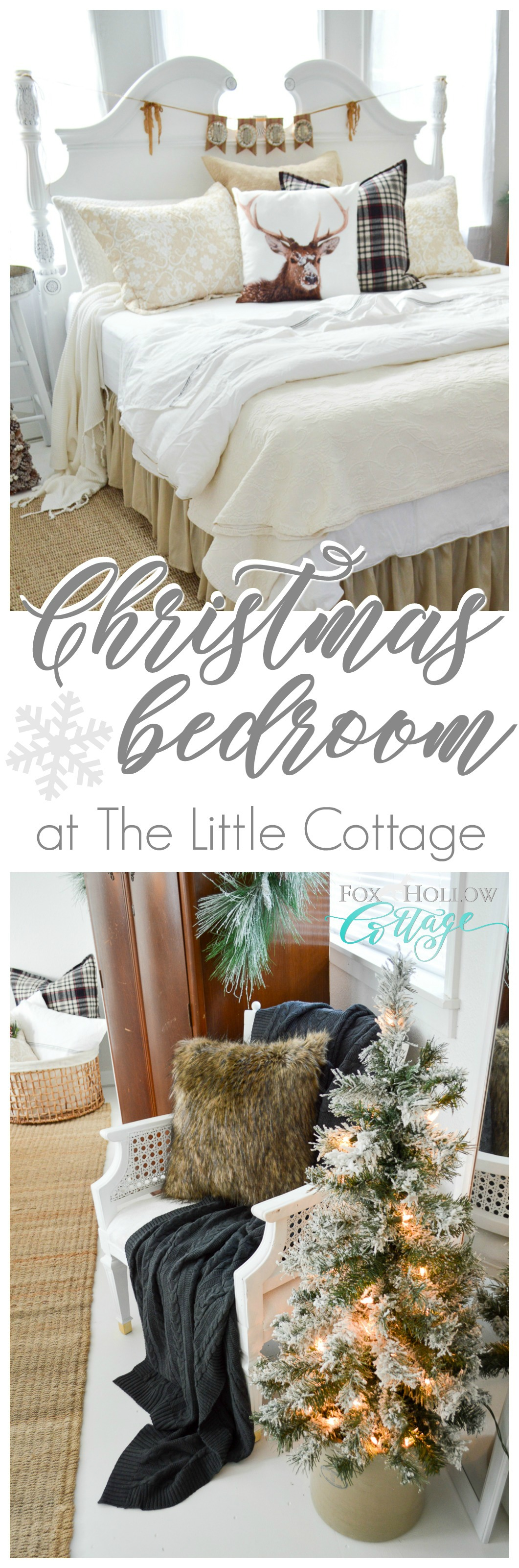 Merry Christmas Guest Bedroom at The Little Cottage foxhollowcottage.com Ideas for Vintage, Cottage Farmhouse Style Decorating on a Budget.