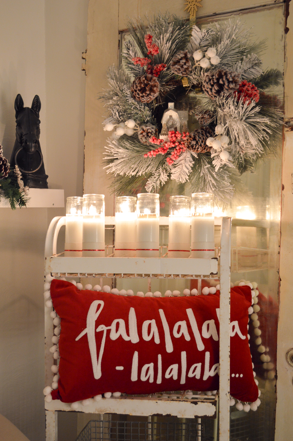 Cottage Christmas Nights Tour. foxhollowcottage.com by candle glow and Christmas lights.