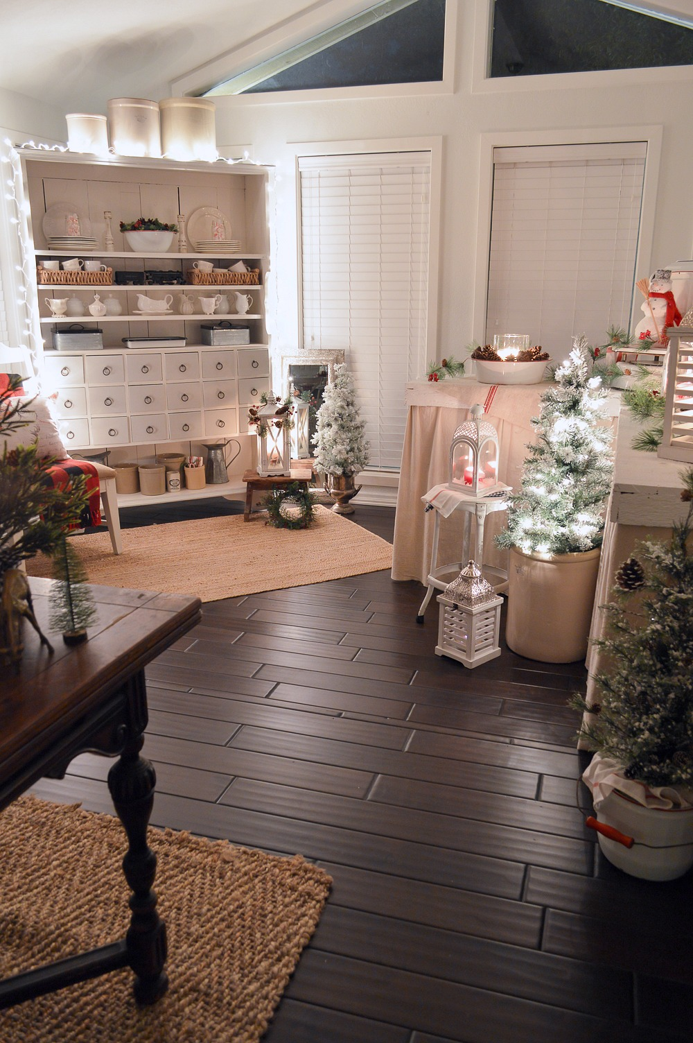 Merry Christmas Nighttime Home - Vintage holiday decorating, apothecary cabinet. Crock collection, plaid accents.