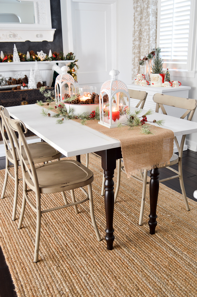 Have Yourself A Merry Little Christmas. Fox Hollow Cottage Holiday, vintage drop leaf dining table, farmhouse metal chairs, vintage enamelware centerpiece.