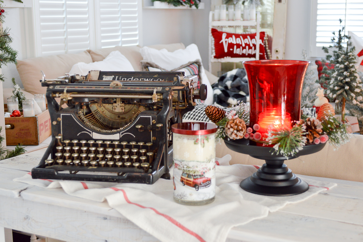 Have Yourself A Merry Little Christmas. Fox Hollow Cottage Holiday, vintage Underwood typewriter, red candle lantern hurricane, vintage woody car