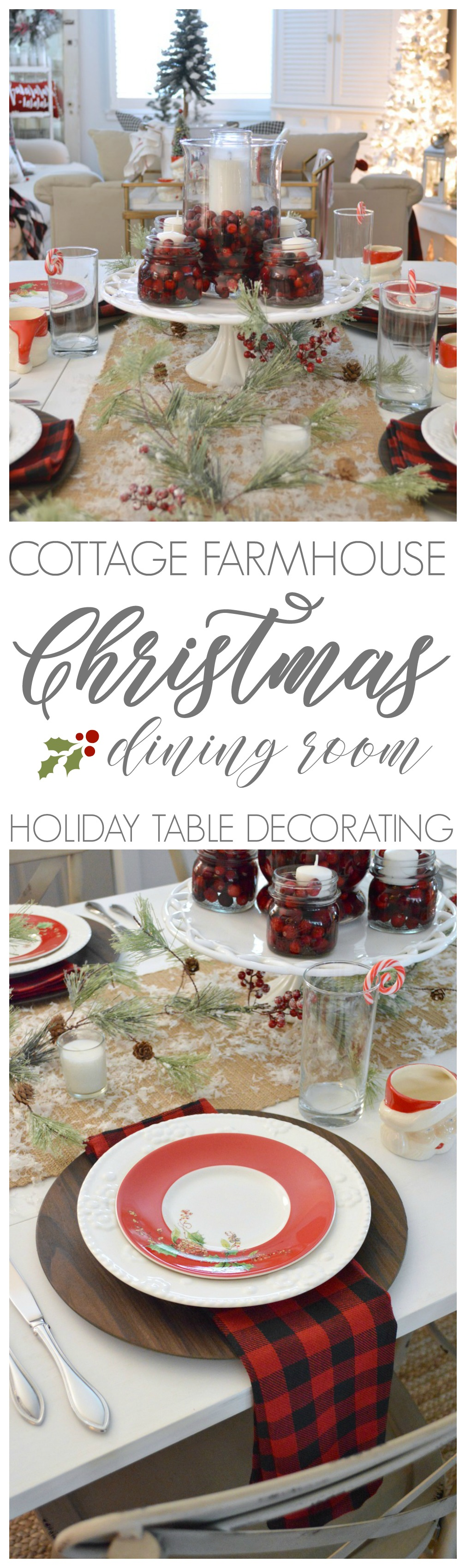 Cottage Farmhouse Christmas Dining Room, red black, white buffalo check rustic traditional farm table with cranberry floating candle centerpiece.