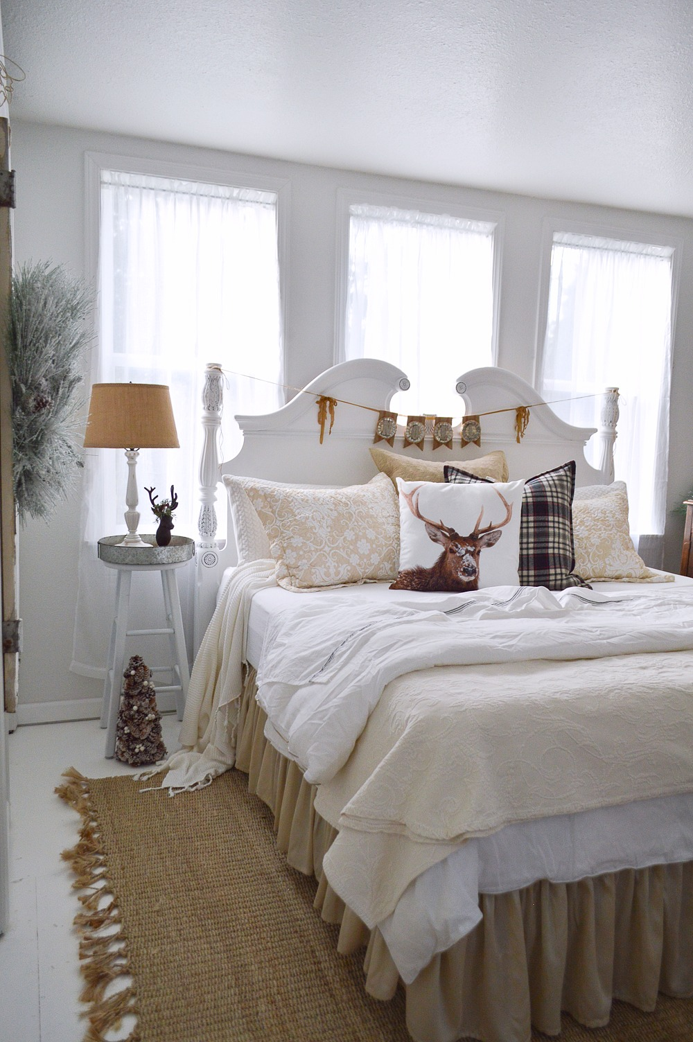 Merry Christmas Guest Bedroom at The Little Cottage foxhollowcottage.com Cream, Ivory and Winter White Bedding, with DIY Painted Wood Headboard.