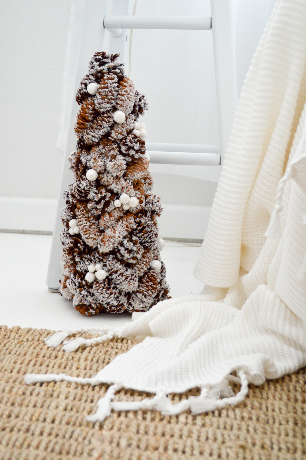 Merry Christmas Guest Bedroom at The Little Cottage foxhollowcottage.com Snowy Pine Cone Holiday Tree