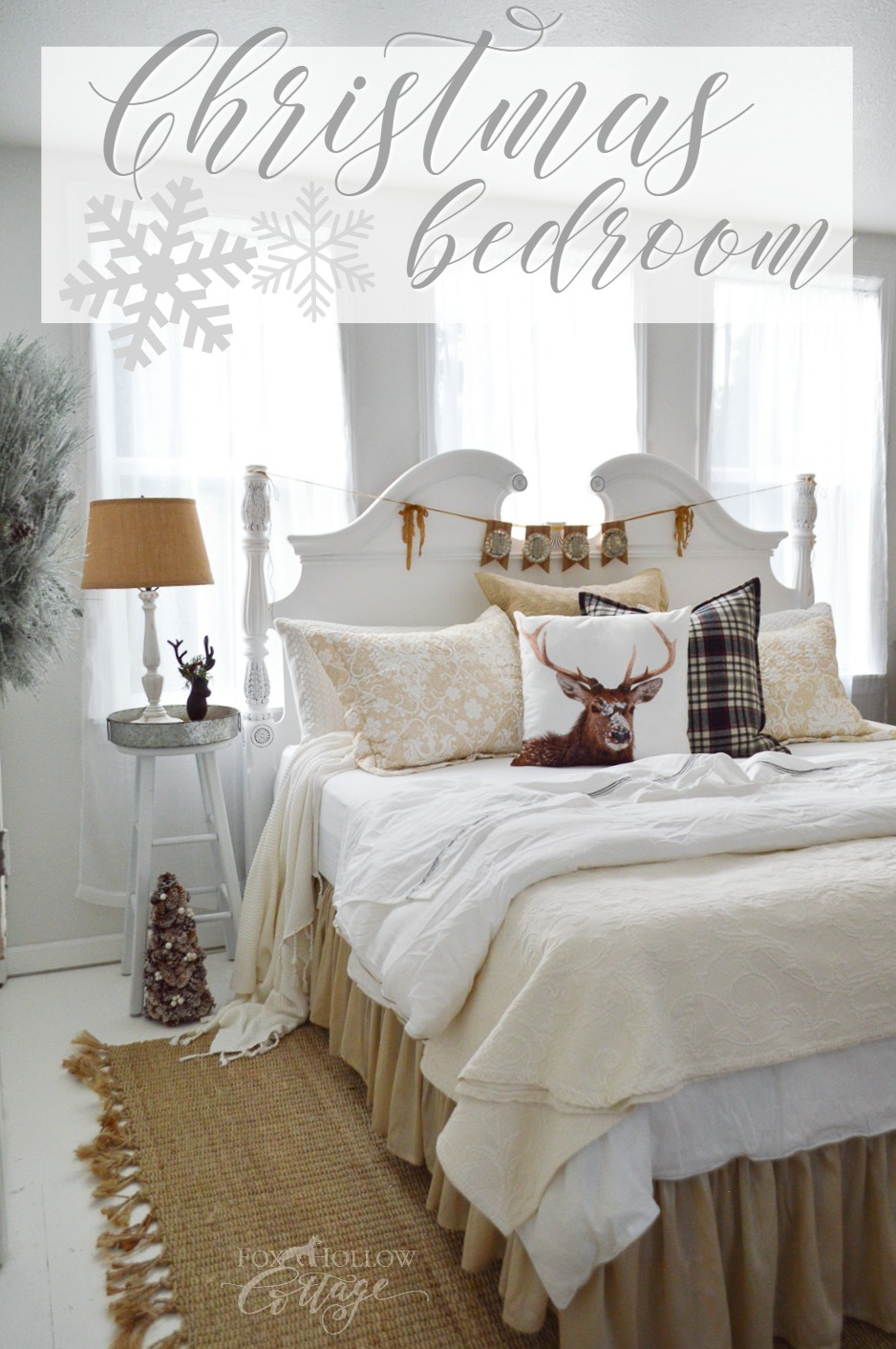 Merry Christmas Guest Bedroom at The Little Cottage foxhollowcottage.com Find Vintage, Cottage Farmhouse Style Decorating on a Budget!
