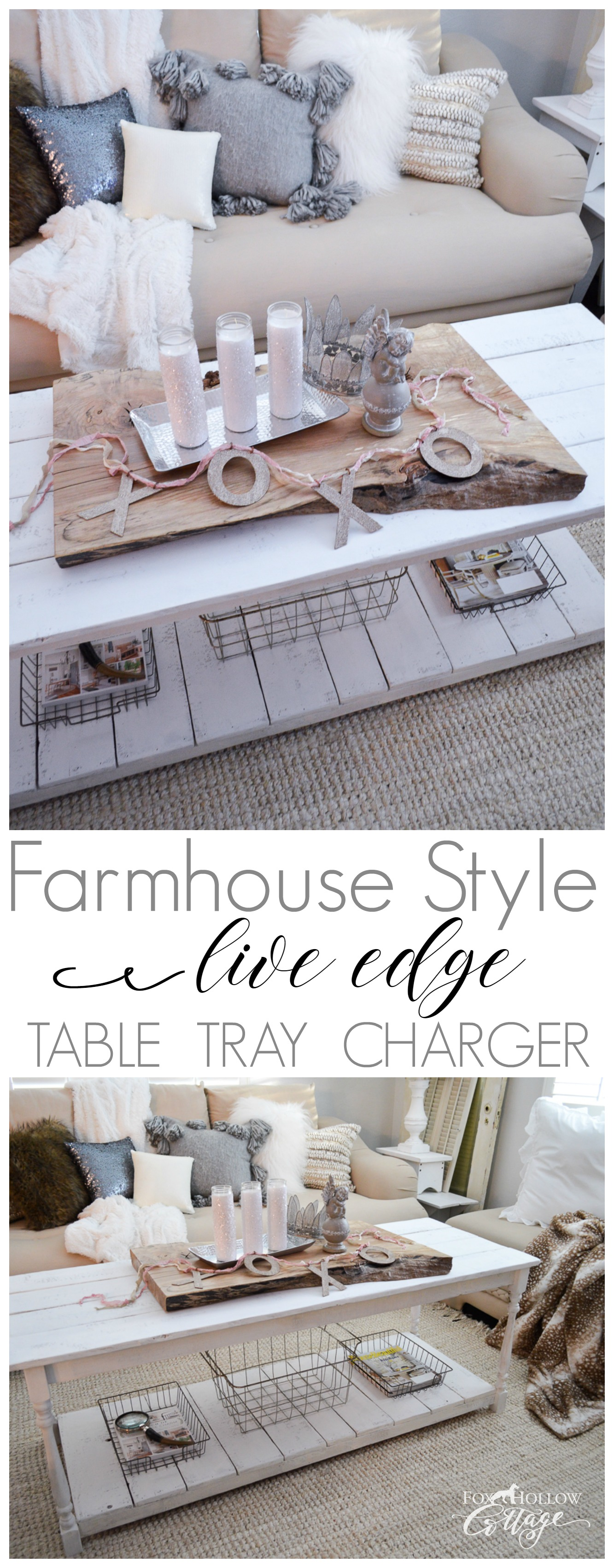 DIY Farmhouse Style - $3 Barn Sale Wood Slab Turned Live Edge Table Tray Charger