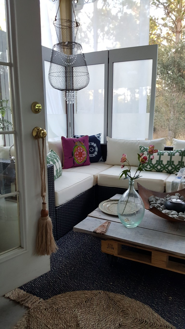 One Room Challenge - Eclectic lounge with barn door coffee table   Covered screen patio porch sectional DIY outdoor entertaining space
