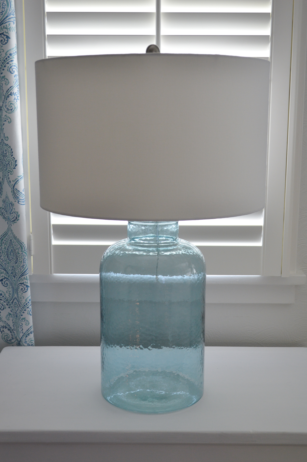Aqua Blue Cottage Home Decorating Ideas at Fox Hollow Cottage blog - www.foxhollowcottage.com - Glass Lamp