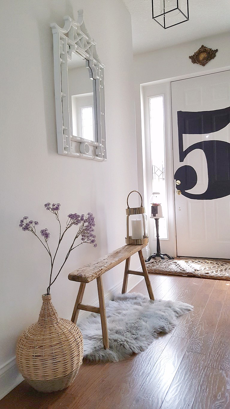 Eclectic Collected Vintage Modern Home Tour - Graphic 5 Monogram Black White Door Entryway Bees N Burlap