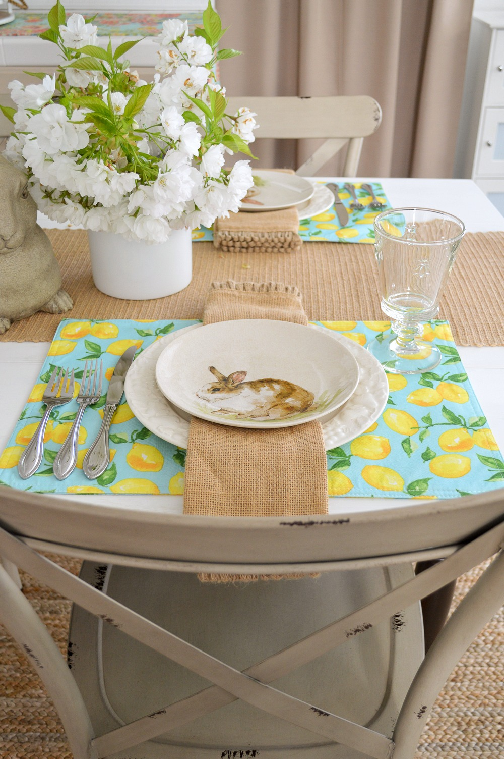 Aqua Lemon Spring Easter Table