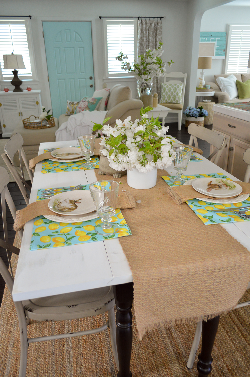 Simple Spring Aqua Lemon Easter Table Fox Hollow Cottage