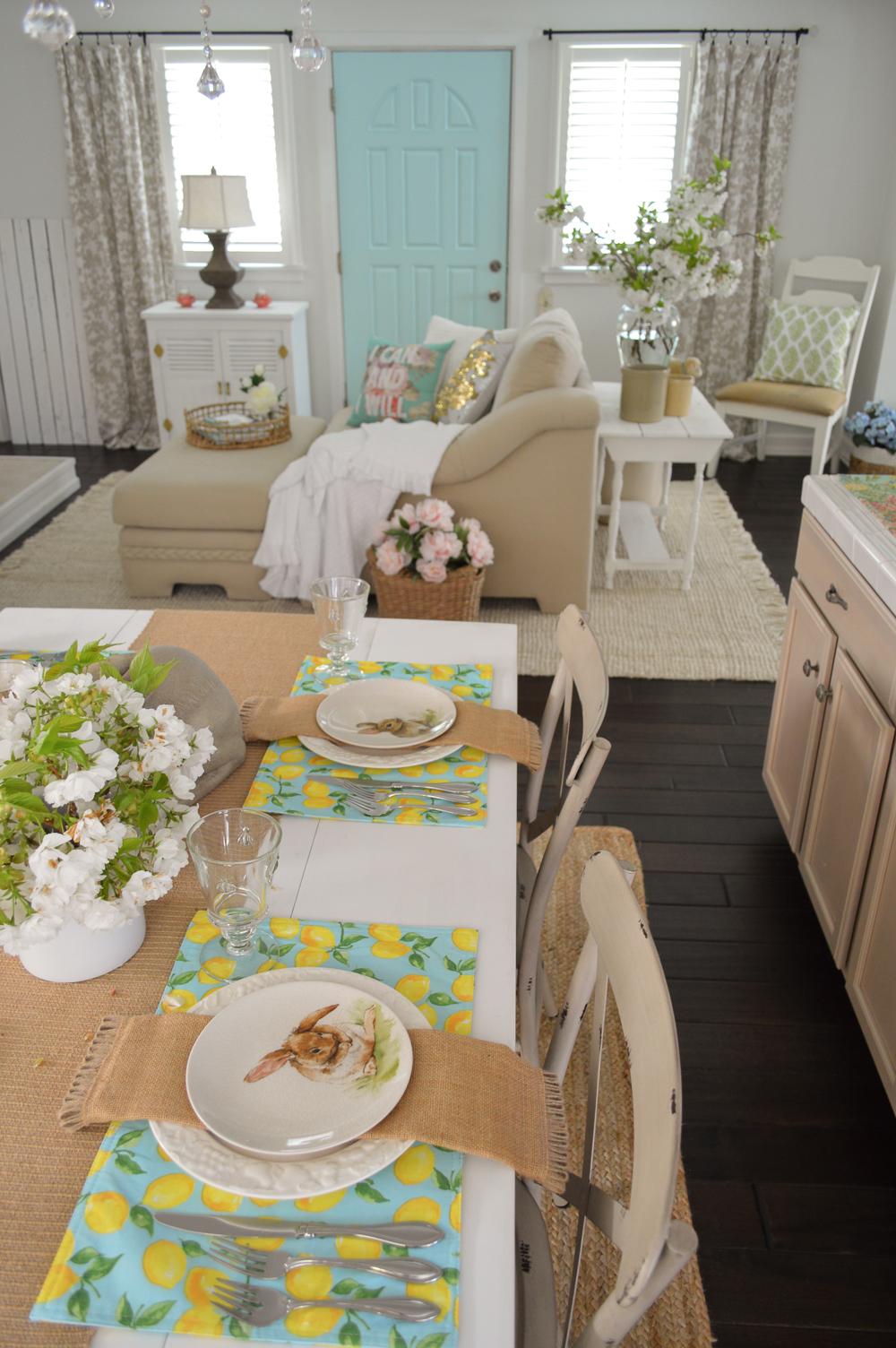 Simple Spring Aqua Lemon Easter Table