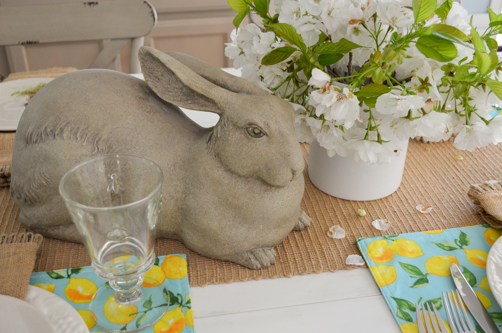Simple Spring Aqua Lemon Easter Table
