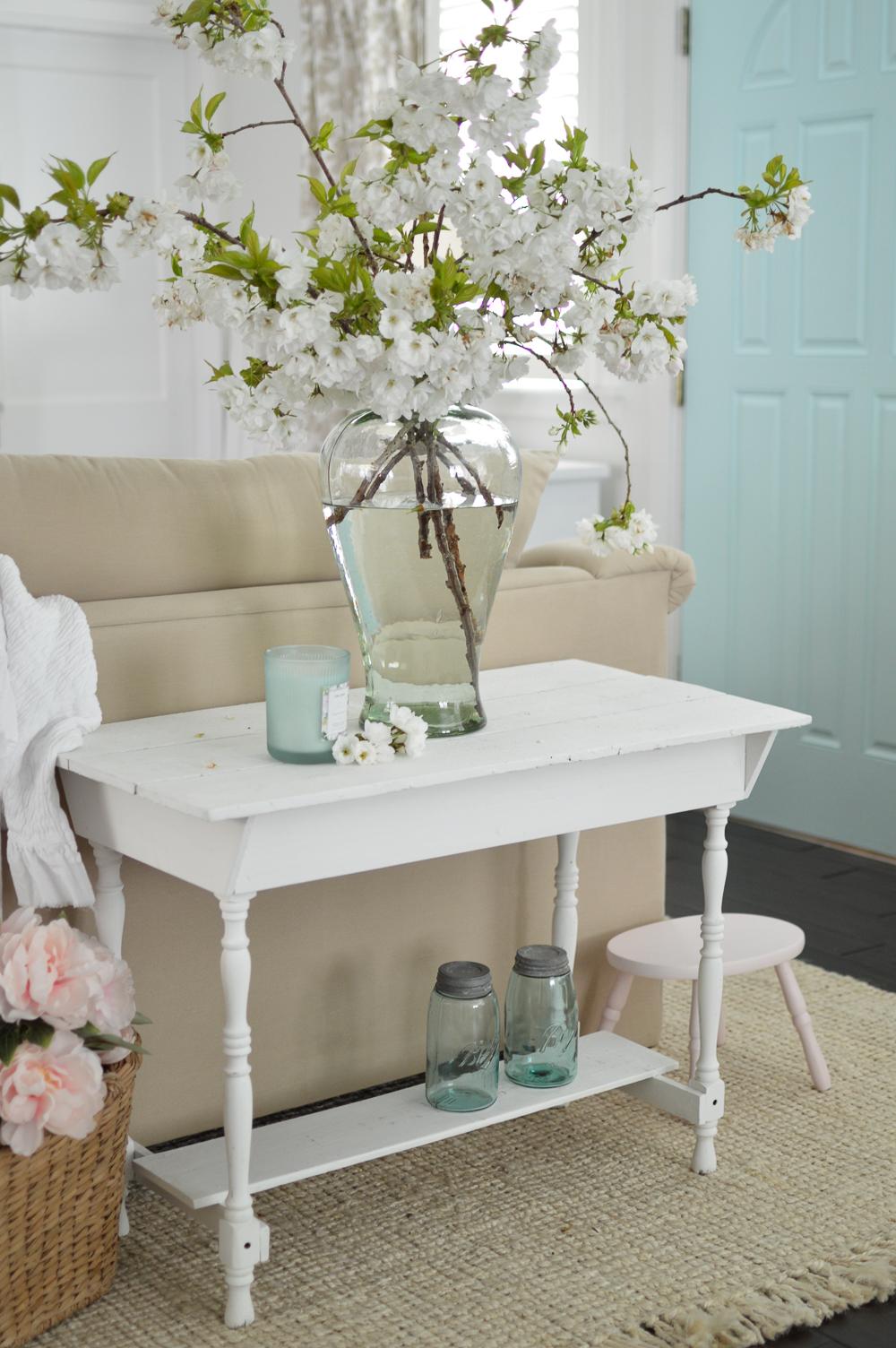 Simple Spring Aqua Lemon Easter Table Fox Hollow Cottage