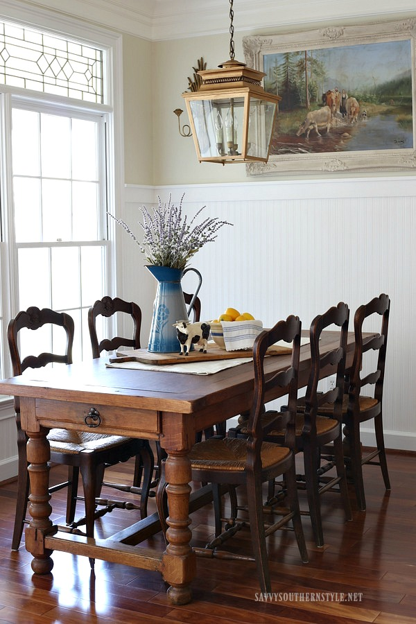 DIY Farm Table Build Plans and Makeover Ideas | Beautiful Patina, Warm Wood Antique French Farm Table - Savvy Southern Style