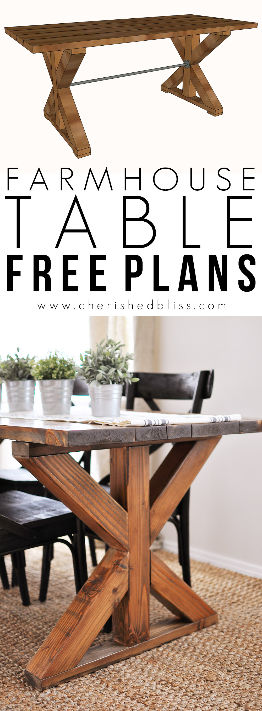 X Base Trestle Farm Table Build Plans - Cherished Bliss