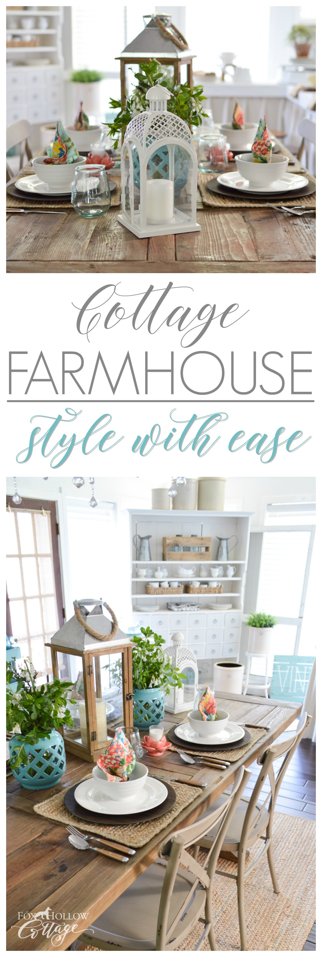 Easy cottage farmhouse decorating ideas - colorful fun farm table entertaining