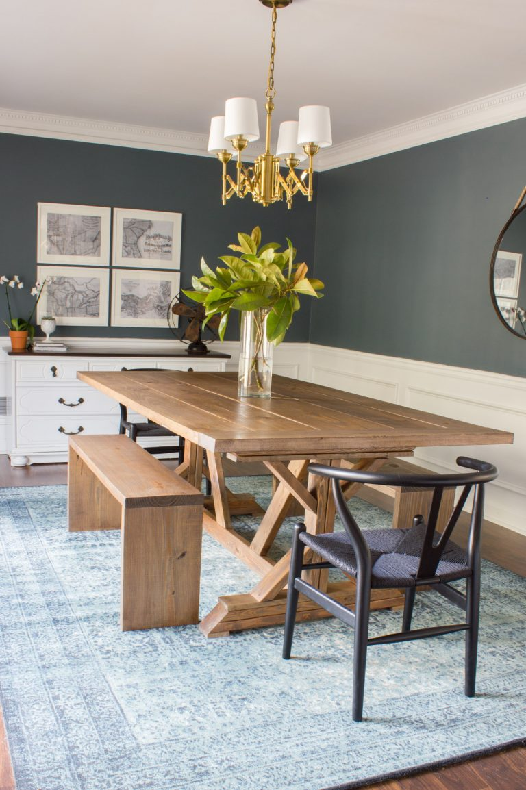 Modern Farmhouse Table and Bench Build Plan Tutorial - Erin Spain