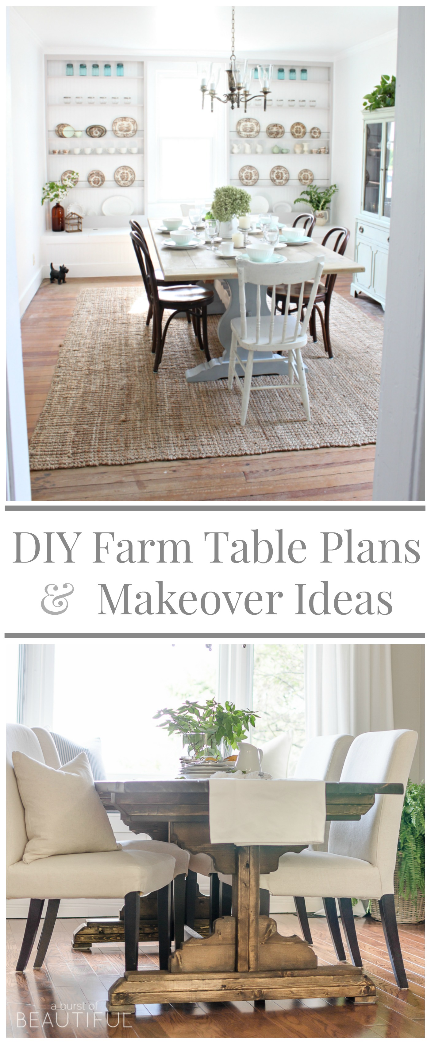 DIY Farm Table Build Plans and Makeover Ideas