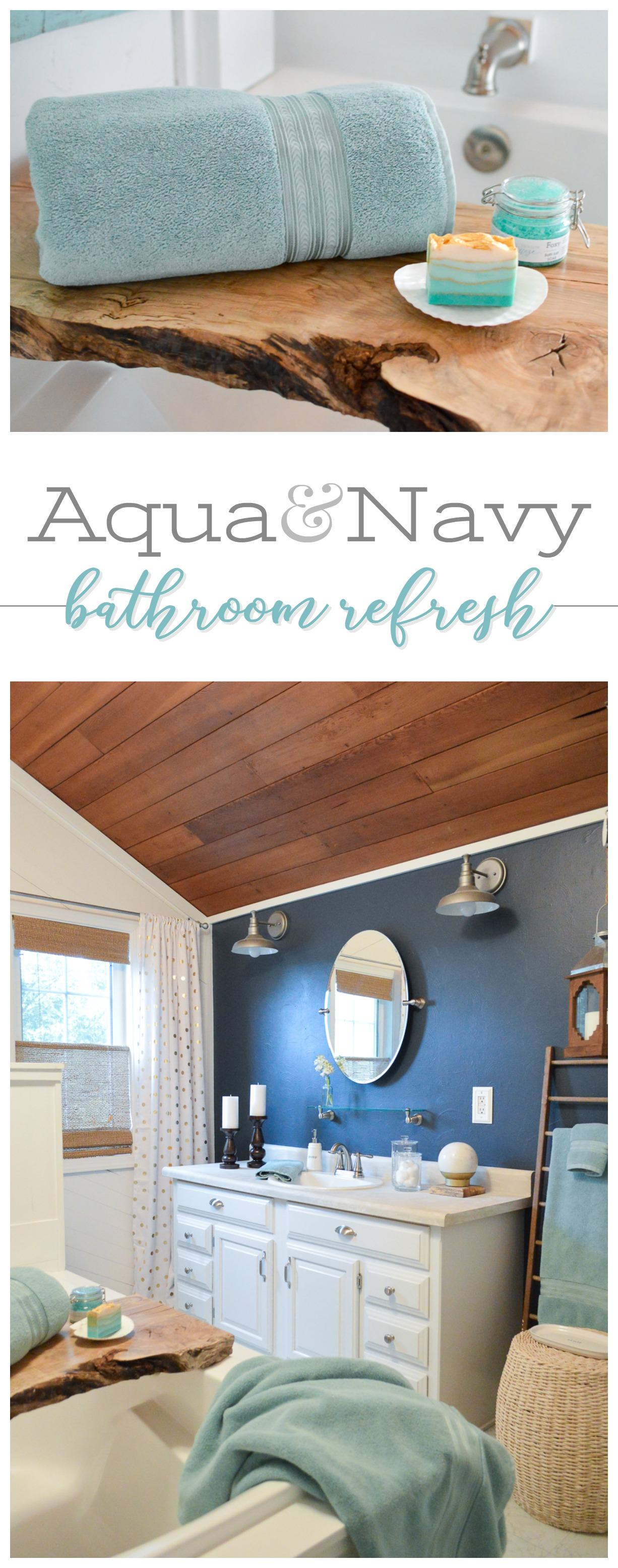 Aqua and Navy Bathroom Refresh - Mini Summer Makeover - Coastal Cottage Bath, Vaulted Planked Ceiling, Wood Walls, Boxed Shiplap Wrapped SoakingTub...