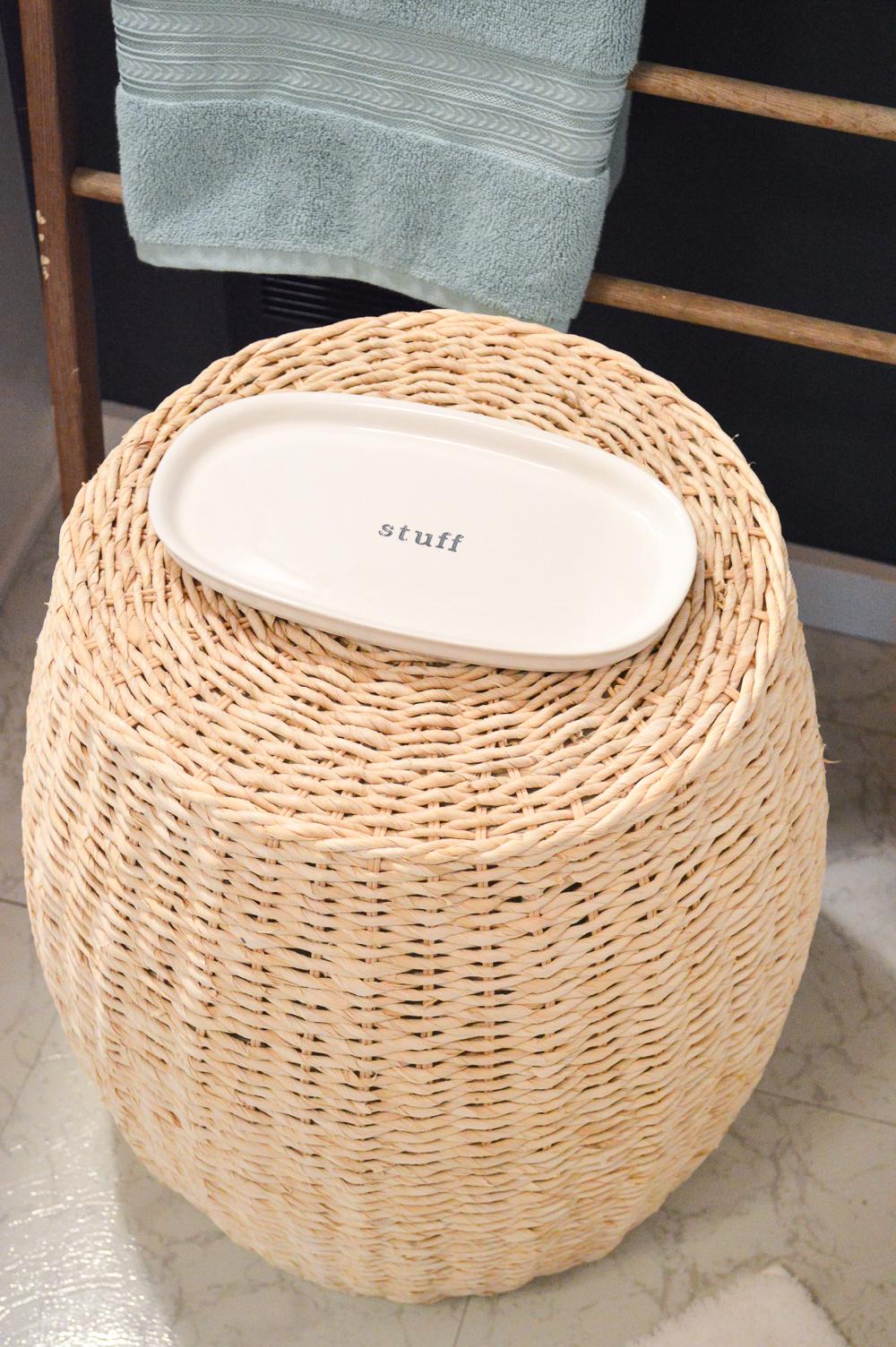 """Aqua Summer Bathroom Refresh. BHG """"stuff"""" ceramic tray. #sponsored"""