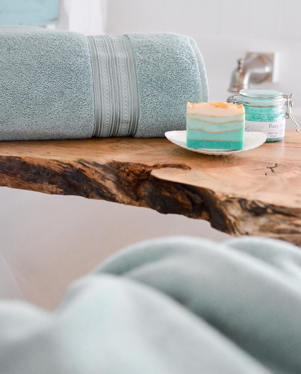 Aqua Summer Bathroom Refresh | Create a coastal spa retreat, live edge maple bath tray and Aquifer bath towels.