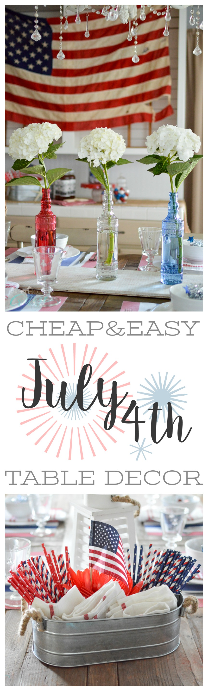 Cheap Easy 4th of July Cottage Farmhouse Table Decorating Ideas at Fox Hollow Cottage