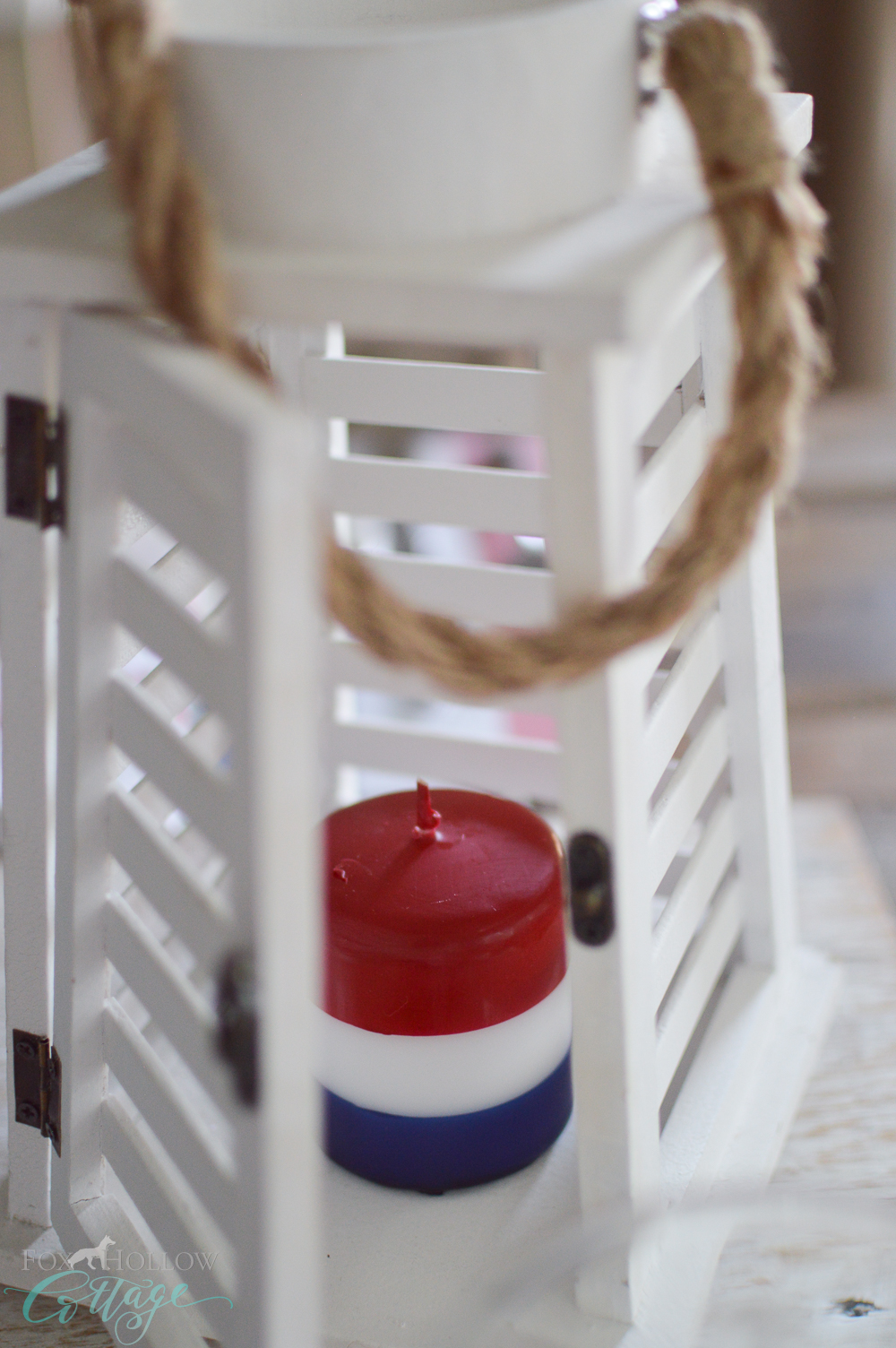 Simple 4th of July Table Decorating Ideas - Red, White and Blue Candle + Wood Lantern