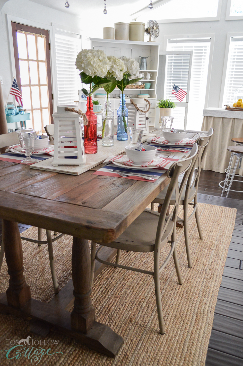 Cottage Farmhouse Patriotic Red,White,Blue Table Farm Table. Fourth of July Dollar Tree Tablescape