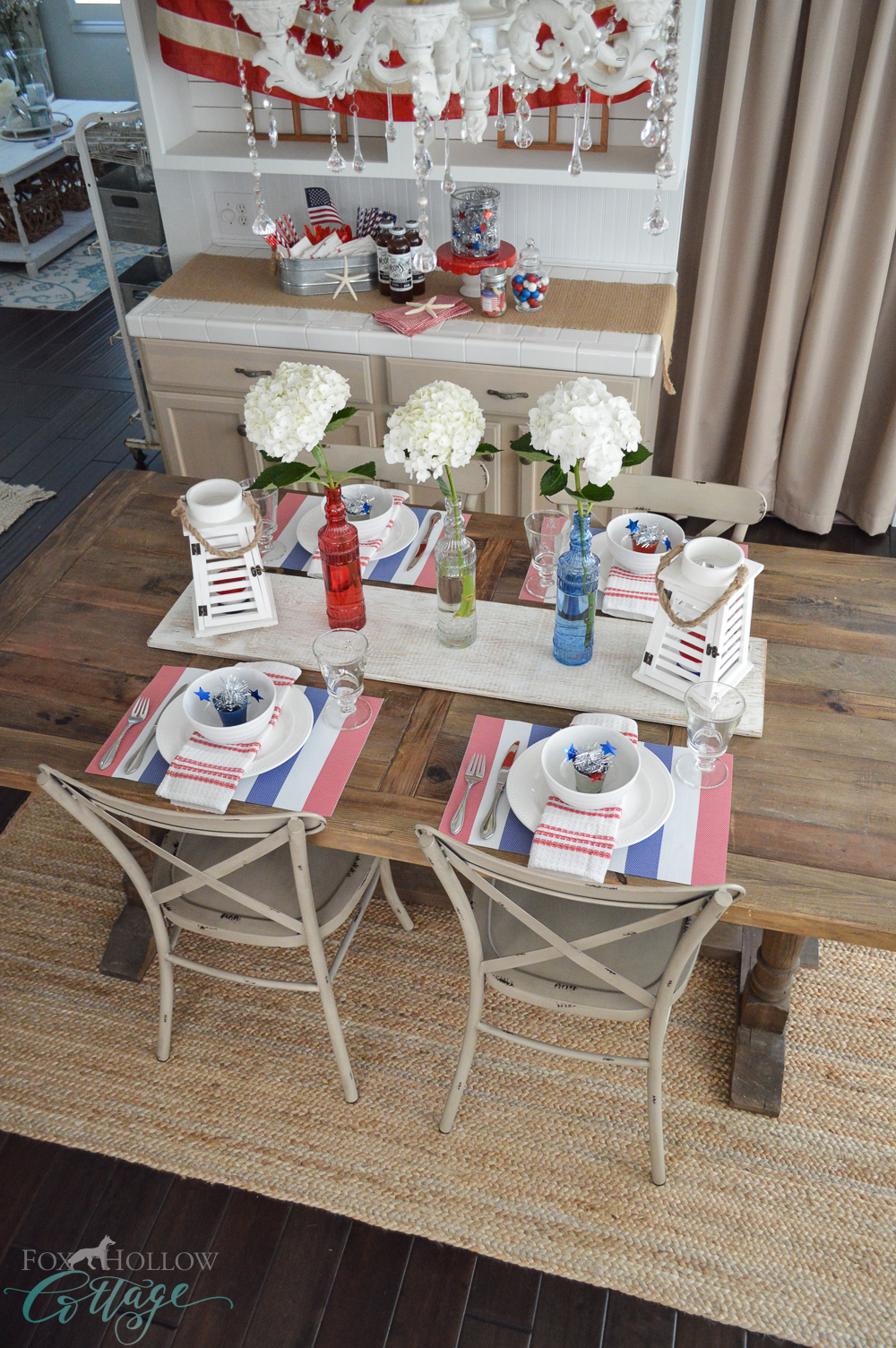 Cottage Farmhouse 4th of July - Red, White, Blue Patriotic Farm Table Decorating Ideas