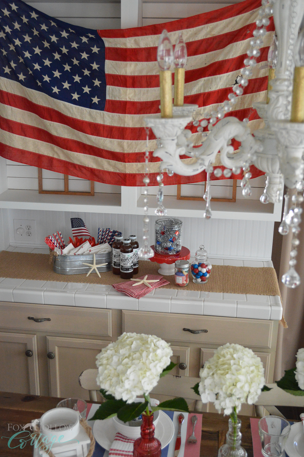 Vintage flag, Chandelier... Fourth of July, Patriotic Home Decorating Ideas