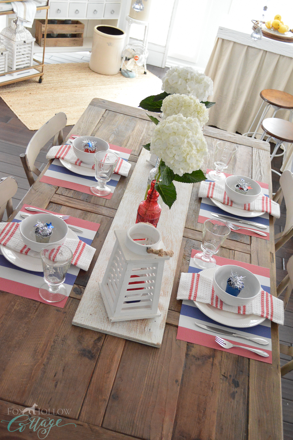 DIY Red, White and Blue Patriotic Farm Table with Wood Runner - 4th of July