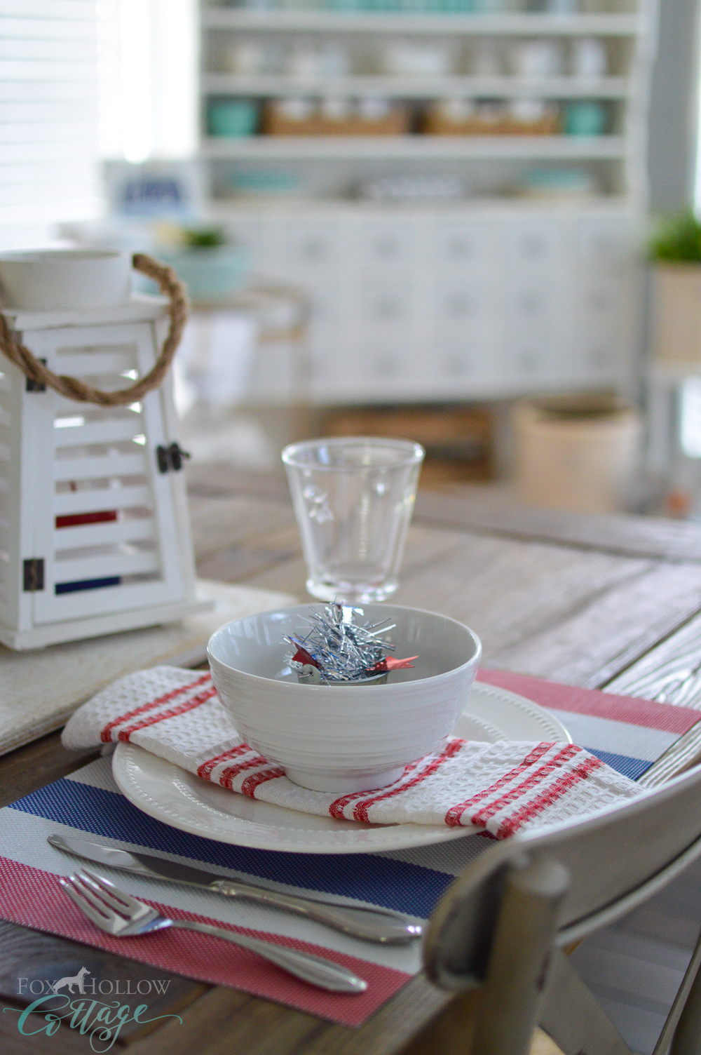Simple 4th of July Table Decorating Ideas at foxhollowcottage.com with affordable Dollar Tree items