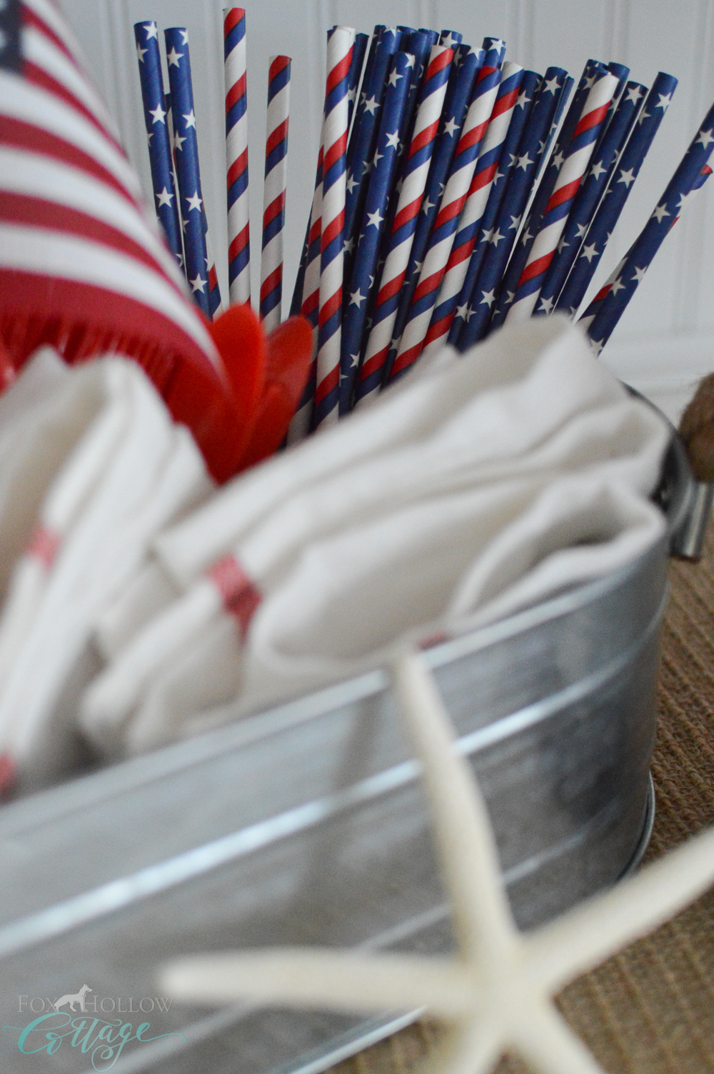 Simple 4th of July Table Decorating Ideas, Vintage Paper Straws.