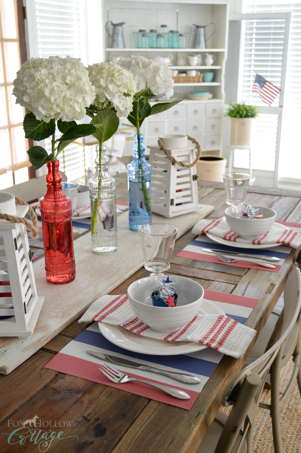 Farmhouse Table, 4th of July at Fox Hollow Cottage